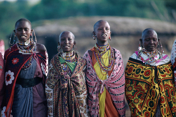 Maasai villagers in traditional dress