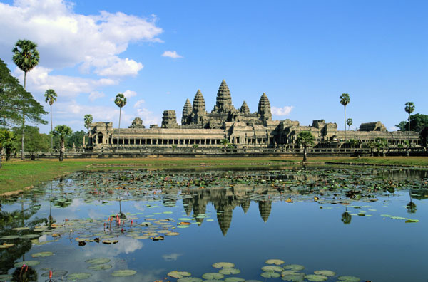View across lake to Angkor Wat