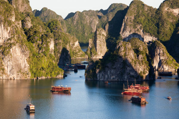 Tourist boats on Halong Bay