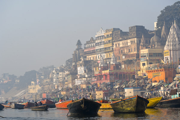 the ghats at Varanasi on the Ganges