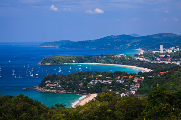 Beach and city of Phuket