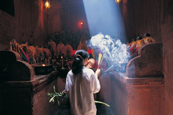 Incense burning in temple